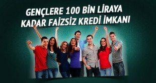 Gençlere 100 Bin TL Faizsiz Kredi Desteği Şartları